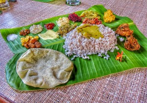Sadya typical Kerala lunch