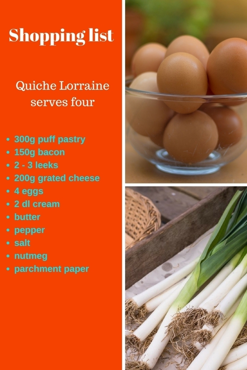 Ingredients quiche lorraine