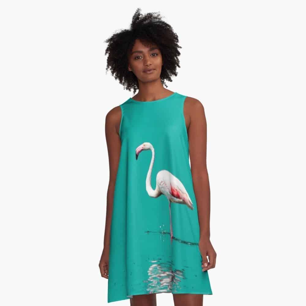 A-line dress flamingo squ