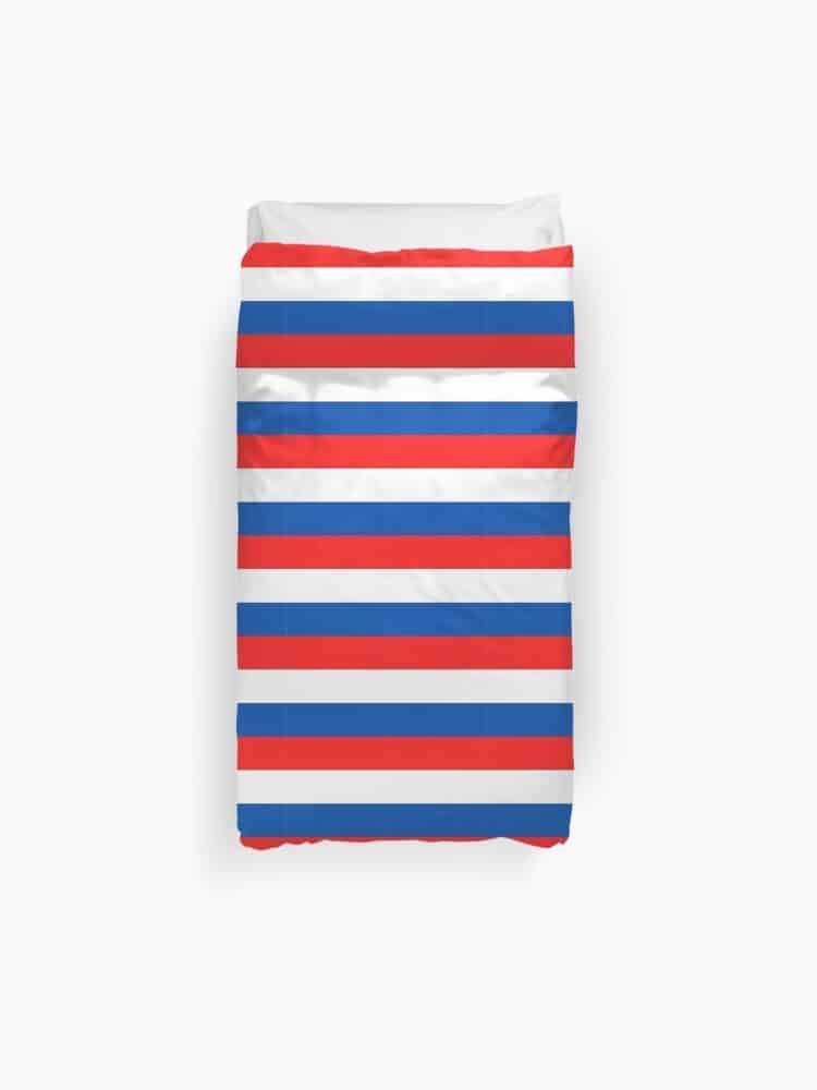 duvet cover red, white, blue