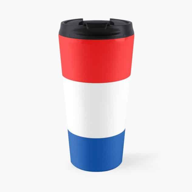 travel mug red, white, blue