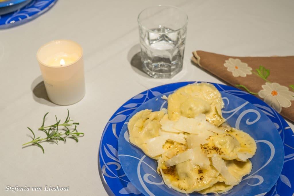pompoen gevulde ravioli